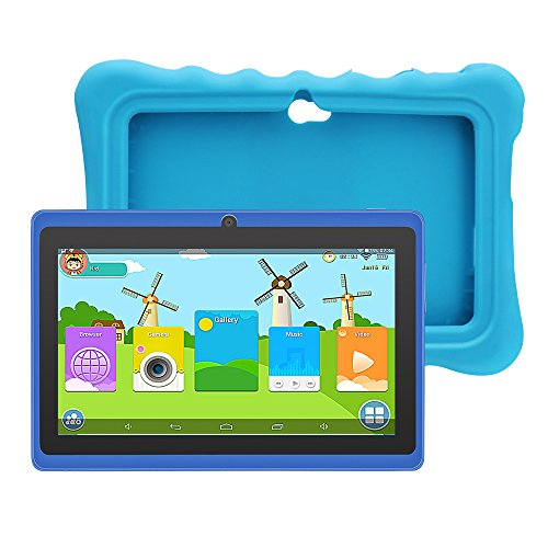 Yuntab Q88H 7' Tablette Tactile Enfant 1024X600 HD Resolution 8Go Android 4.4 A33 Quad Core Bluetooth Google Play Store avec Etui en Silicone (Bleu)