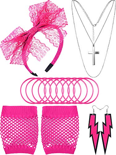 Fischnetz Kostüm Handschuhe - 80 Jahre Kostüm Zubehör, Fischnetz Handschuhe Spitze Stirnband Ohrringe Halskette Armband für 80 Jahre Party (Stil B, Rosenrot)