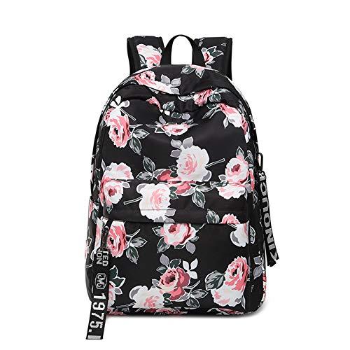 hultasche Fashion Literarischer Pfingstrose Blumendruck mit 3 Reißverschluss-Accessoires Dekorative Schulrucksack als EIN Geschenk für Mädchen, Damen(Schwarz) ()