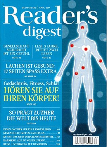 Buchcover Readers Digest Deutschland 4 2017 Gedächnis Fitness Schlaf Hören Sie auf Ihren Körper Zeitschrift Magazin Einzelheft Heft