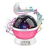 Anpress Mond Sterne Projektor mit 12 weichen Musik, Baby Zimmer Nachtlicht, 360 Grad-Drehung 3 Modell Licht, USB aufladbare, romantische Dekoration Lampe großes Geschenk für Weihnachten Kinder