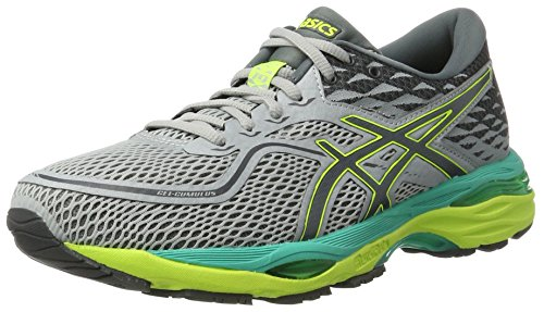 Asics Gel-Cumulus 19, Scarpe Running Donna, Grigio (Mid Grey / Carbon / Safety Yellow), 37.5 EU