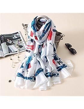 Mujeres Bufandas Pañuelo de seda Mantón de seda Hijab envoltura bandana azul impresiones digitales,Blanca,180*...