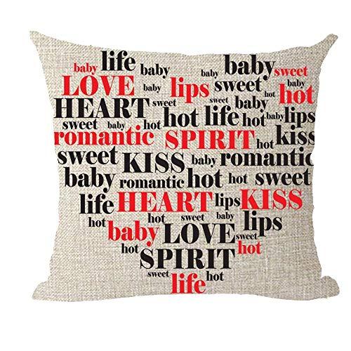 BorisMotley 2018 F/W Zitat Inspirational Red Love Heart Baby Life Romantic Kiss Baumwolle Leinen Überwurf Kissenbezug Sofa Deko quadratisch Home School Office Dcoration 45,7 x 45,7 cm