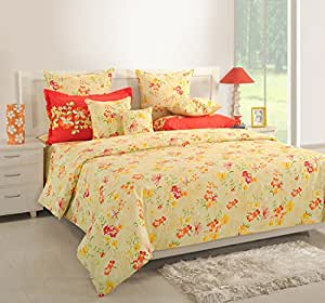 Superieur ... Swayam Orange Colour Fitted Double Bed Sheet With Pillow Covers
