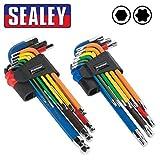 Sealey Pack doble multicolor LARGO ALCANCE Llave Allen Hexagonal/Torx Estrella Llave juegos. 9 piezas+9 piezas