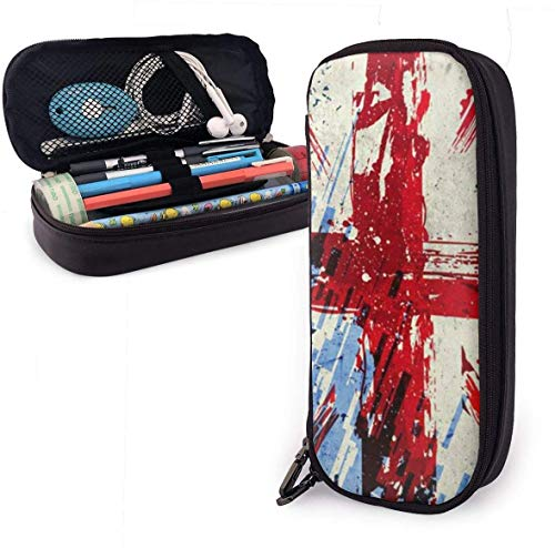 Union Jack (2) Leather Pencil Case Pouch Zippered Pen Box School Supply for Students,Big Capacity Stationery 3D Nanotechnology Printed Box for Girls Boys and Adults