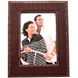 Scrafts Classic/decorative/antique Table Top/desktop Corporate Collection Brown Wooden/Leather Photo Frame With Stand For Home Décor/office Décor/table Décor/living Room Décor/bedroom Décor (photo Size - 5x7 Inch, Single