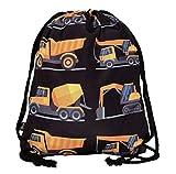 HECKBO® Kinder Jungen Turnbeutel | schwarz, beidseitig mit 8 Baufahrzeugen Bedruckt | für Kindergarten, Krippe, Reise, Sport | Rucksack, Spieltasche, Sportbeutel, Schuhbeutel