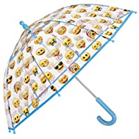 PERLETTI Emoji Umbrella with WhatsApp official emoticons - kid umbrella, dome-shaped transparent umbrella, durable, windproof and long - 3 to Years - Manual opening