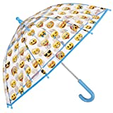 Paraguas Emoji, emoticones oficiales de WhatsApp - Paraguas transparente de cúpula, resistente, antiviento y largo - Seguro, con tacos redondeados y fijos - para niño niña 3-5 años - Perletti