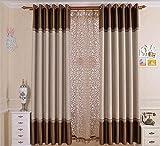 One Panels Rideau Néoclassique Solide Salon Polyester Matériel Rideaux Tentures Décoration d'intérieur Pour Fenêtre , coffee , 1pc(150x220cm)