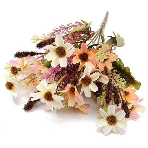 KING DO WAY Bouquet Di Piccolo Margherita Fiori Finti Artificiali Piante Casa Ufficio Matrimonio Decorazione Artificial Flower-Arancione Bianco