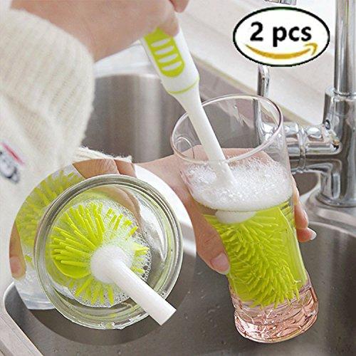 Soft brush, scovolino per pulizia biberon, bottiglia spazzole cucina, antiscivolo, resistente, antibatterico (verde)