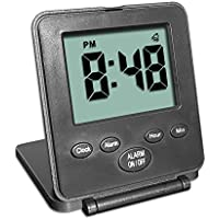 Digital Travel Alarm Clock - No Bells, No Whistles, Simple Basic Operation, Alarm, Snooze, Small and Light, ON/OFF Switch, USA Top Selling for 2+ Years! Black