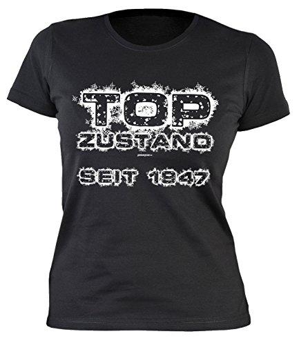 Girlie-Shirt/Damen/Geburtstags/Spaß-Shirt lustige Sprüche: Top Zustand seit 1947 originelle Geschenkidee Schwarz