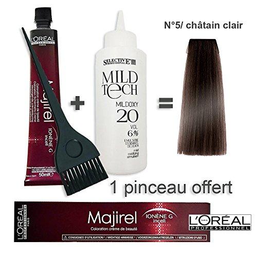 Kit coloration cheveux 50ml Majirel 5/ châtain clair + oxydant 20 volumes 100ml