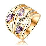 Aooaz Schmuck Damen Hochzeit Ringe Vergoldet Ringe Oval Ring Strass Zirkonia Ring Größe 66 (21.0)