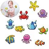 Felly Anti Rutsch Sticker, 10 Meeresorganismen, 10 cm Ø für Sicherheit in Badewanne & Dusche Bad, selbstklebend Antirutsch Aufkleber