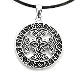 Anhänger Amulett Futhark Runen mit keltischen Kreuz Bronze versilbert inkl Lederband
