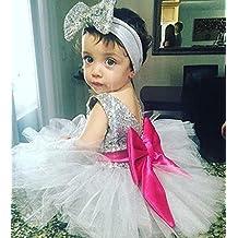 Juleya bebé Lentejuela Falda y la cabeza Niños Verano Sequins Vestido con Bowknot