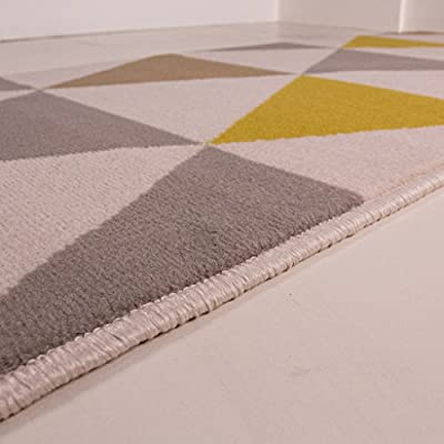 Milan Ochre Mustard Yellow Grey Beige Harlequin Triangles Traditional Living Room Rug produced by The Rug House - quick delivery from UK.