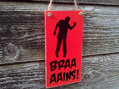 cwb2jcwb2jcwb2j Braaaains! Funny Halloween Decoration Halloween Decor Zombie Sign Halloween Sign Halloween Party Decoration Halloween Party Decor 6