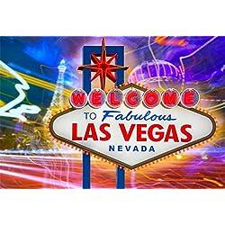 Cassisy 2,2x1,5m Vinyle Las Vegas Toile de Fond Photo Bienvenue À Fabuleux Las Vegas Signe Nevada Esprit Etats Unis Fond De Studio Photo Adulte Portrait Photographie Props Photobooth