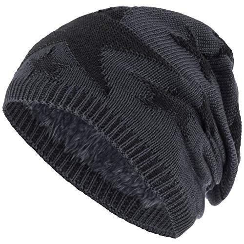 Compagno Sternen Wintermütze warm gefütterte Beanie Flechtmuster Einheitsgröße Mütze, Farbe:Grau