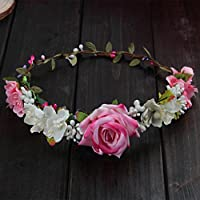 niumanery Women Wedding Flower Hair Garland Crown Headband Floral Rose Handmade Vacation Pink