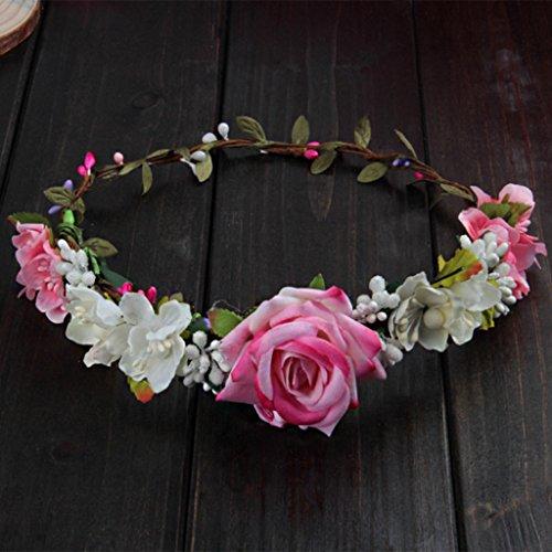 Manyo Damen-Blumen-Stirnband, Hochzeits-Kranz-Haarschmuck, Handarbeit, für den Urlaub