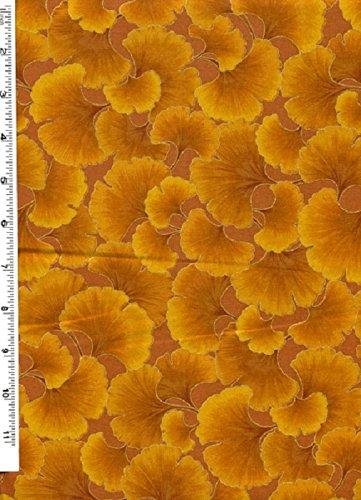 Fat Quarter Ginkgo, klein, Blätter-Design, Gold, Baumwolle, Kona Bay -