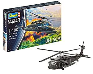 Revell Revell-UH-60A Maqueta Helicóptero UH-60A Blackhawk, Kit Modello, Escala 1:100 (4984) (04984), 15,1 cm de Largo (