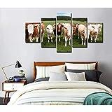 Neue Hauptdekorationgeschenke Schlafzimmer 5 stück Gruppe von Vieh leinwanddruck malerei Dorf Bauernhof Tier Kuh Leinwand bild dekor poster drucken wandkunst wohnkultur Kinder Abstrakte Retro-Szene