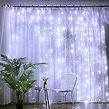 Baiwka LED Rideau Lumières 3m X 3m, Fée Guirlande Lumineuse avec 300 LED Et 8 Modes Télécommande pour Rideau De Mariage Patio Extérieur Intérieur Fête De Noël Jardin Chambre Décoration...