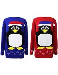 Oromiss Unisex Ladies Mens Percy Penguin Knitted Christmas Jumper
