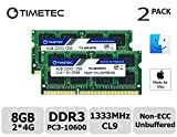 Timetec Hynix IC Apple 8GB Kit (2x4GB) DDR3 1333MHz PC3-10600 SODIMM Memory Upgrade For MacBook Pro 13/15/17 inch Early/Late 2011,iMac 21.5-inch Mid/Late 2010/2011,27-inch Mid 2010/2011,Mac mini 5,1 & 5,2 Mid 2011 (8GB Kit (2x4GB))