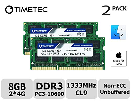 Timetec Hynix IC Compatible with Apple 8GB Kit (2x4GB) DDR3 1333MHz PC3-10600 SODIMM Memory Upgrade For Mac 8GB Kit (2x4GB) -