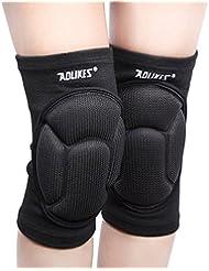 1 Paire Volleyball Épaissir Knee Pads Brace genou de protection Protector Rugby Knee Pad de support de genou (Black, L)
