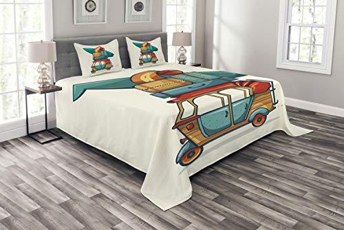 ABAKUHAUS Oldtimer Tagesdecke Set, Rikscha Gepäck, Set mit Kissenbezügen Sommerdecke, für Doppelbetten 264 x 220 cm, Mehrfarbig -