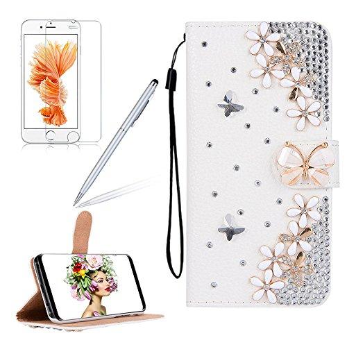 Girlyard für iPhone 8 Plus 7 Plus (5.5 Zoll) Diamant Schmetterling Blumen Lederhülle, Bling Glitzer DIY Crystal Schutzhülle Luxus Premium PU Flip Case mit Lanyard Strap Standfunktion Kartenfach Magnetverschluss Etui für iPhone 7 Plus/ iPhone 8 Plus