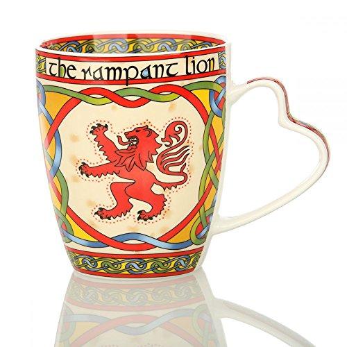 Eburya Rampant Lion Kaffeebecher mit dem schottischen Löwen & keltischen Ornamenten