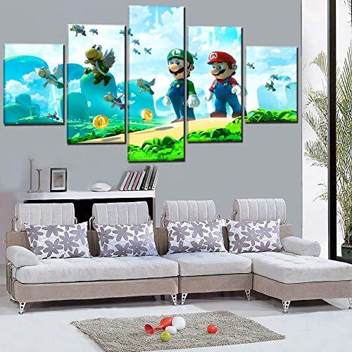 Muraon Dekoration Leinwand Wandkunst Bilder 5 Stücke Super Mario Bros Klassische Cartoon Spiel Malerei Poster Kunstwerk @ 40X60 40X80 40X100cm_Unframed (Tuch Bros Mario)