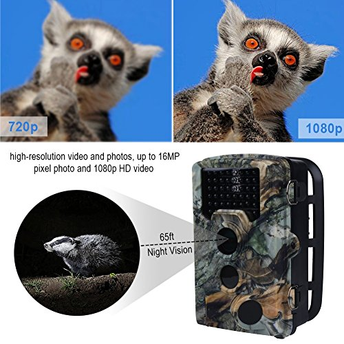 16-MP-1080P-HD-Juego-de-Caza-Cmara-de-Rastro-con-Visin-Nocturna-de-75-Pies-y-108–ngulo-de-Lente