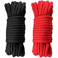 Corde torsadée en coton, 2 paquets de 10 mètres (noir, rouge)