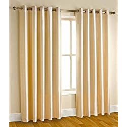 "Home Candy Eyelet Fancy Polyester 2 Piece Door Curtain Set - 84""x48"", Cream (SOE-CUR-120_120)"