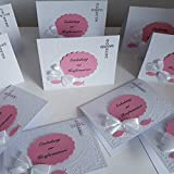 12 Einladungskarten Einladung Konfirmation Kommunion Firmung Taufe Fische rosa Handarbeit binnbonn