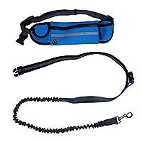 Kyc 3couleurs mains libres Laisse pour chien Pet Laisse de dressage avec sac banane pour chien pour l'entraînement de sécurité, la marche, la course à pied à la main tirer Laisse, bleu