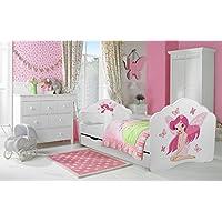 """Kinderbett """"Fee"""" Bett für ein Kind, Größe 140x70, mit einer Matratze, einer Schublade und einem schützenden Geländer"""