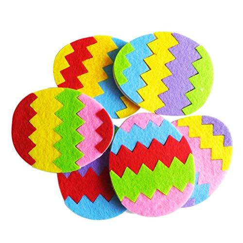 Amosfun l'uovo di coloful del tessuto non tessuto di diy batte insieme l'uovo di coloful dei non tessuti per il bambino bambino 6pcs (colore casuale)